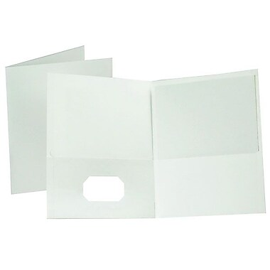 Oxford® Letter-Size Twin-Pocket Folder Portfolios, 25/Pack, White