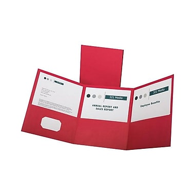 Oxford Letter-Size 3-Pocket Tri-Fold Pocket Folders, 20/Pack, Red