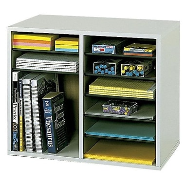 Safco® 9420 Wood Vertical Adjustable Literature Organizer, 12 Compartments, Grey