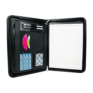 Winnable Zippered Executive Padfolio, Letter Size, Black