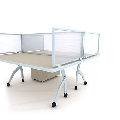 Obex Polycarbonate Desk Mount 24''Hx66''W Privacy Panel, White (24X66PAWDM)