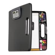 "Officemate® 1"" Capacity Plastic Portable Storage Clipboard Case With Calculator, Charcoal"