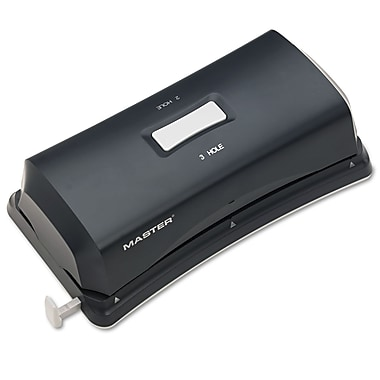 Master® 15 Sheet Duo Electric/Battery Fixed Position Sides 2 and 3 Hole Punch, Black