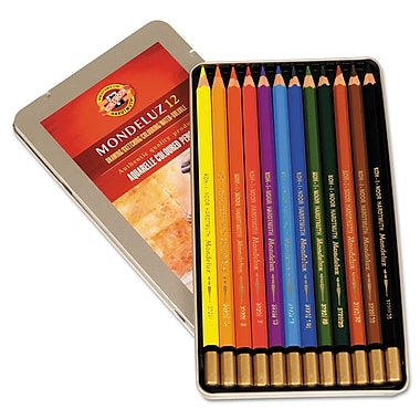 Koh-I-Noor Mondeluz Aquarelle Watercolor Pencils, Assorted, 12/Set