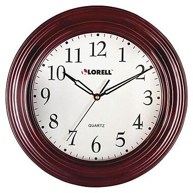 LorellMD – Horloge murale ronde de 13 1/4 po, acajou (60988)