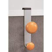 Alba – Portemanteau à 2 crochets pour cloison, gris argenté et en bois, paq./6