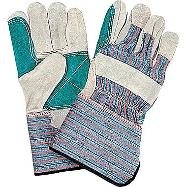 Zenith Safety Double Palm & Index Finger Split Cowhide Fitters Gloves, Gauntlet Cuff, L, Outside Double Palm, 24/Pack