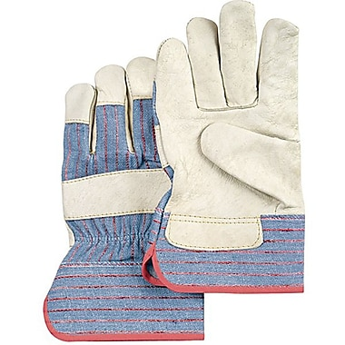 Zenith Safety Grain Cowhide Fitters Gloves, Standard Quality, Large Size, Unlined Palm, 24/Pack