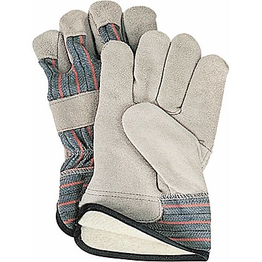 Zenith Safety Split Cowhide Fitters Gloves, Full Cotton Fleece Lined, Large Size, 24/Pack