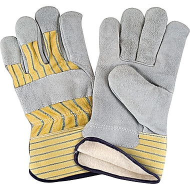 Zenith Safety Split Cowhide Fitters Gloves, Full Cotton Fleece Lined, X-Large Size, 24/Pack