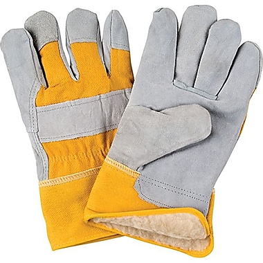 Zenith Safety Split Cowhide Fitters Gloves, Acrylic Boa Lined, Large Size, 24/Pack