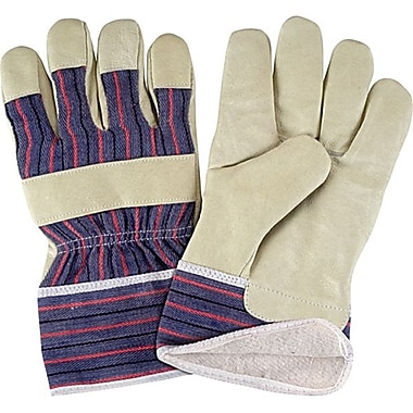 Zenith Safety Grain Pigskin Fitters Cotton Fleece Lined Gloves, Large Size, 24/Pack