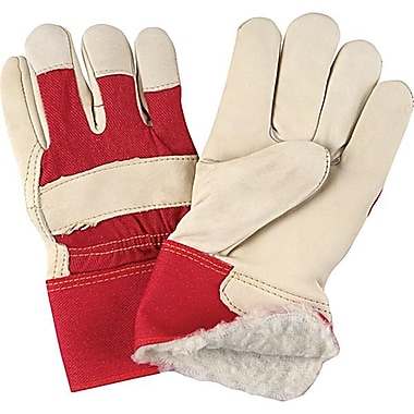 Zenith Safety Grain Cowhide Fitters Acrylic Boa Lined Gloves, Large Size, 12/Pack