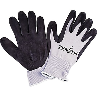 Zenith Safety Polyester Shell Lightweight Nitrile Foam Palm Coated Gloves, Size 7, 60/Pack