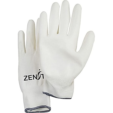 Zenith Safety Lightweight Polyurethane Palm Coated Gloves, Size 7, White, 60/Pack
