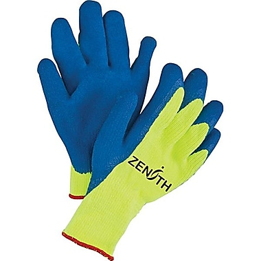 Zenith Safety High Visibility Natural Rubber Acrylic Lined Gloves, Size 8, 12/Pack