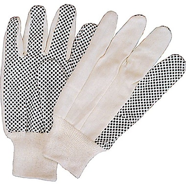 Zenith Safety Cotton Canvas Dotted Palm Gloves, Large, 60/Pack