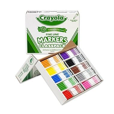 Crayola - Marqueurs, pointe fine, Classpack non lavables, couleurs variées, 200/paquet