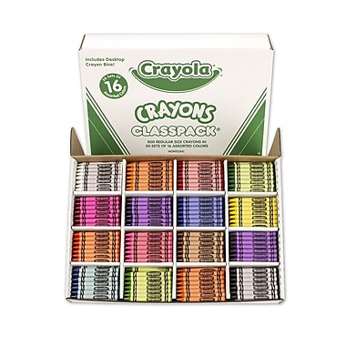 Crayola® Regular Crayons Classpack®, Assorted, 16 Colours, 800/Pack