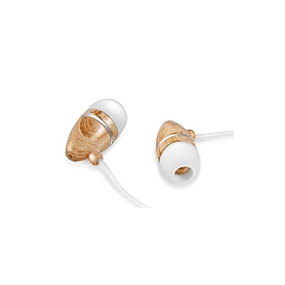Zenex® EP5437 Graphic Collection Wood In-Ear Headphones, White