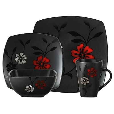 Gibson® Elite Couture Evening Blossom Dinnerware Set, 16 Piece, Black