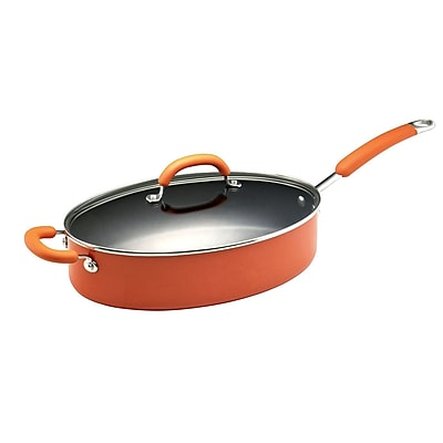 Rachael Ray Porcelain Enamel II 5 qt Covered Oval Saute Pan With Helper Handle, Orange Gradient