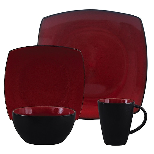 Gibson® Home Soho Lounge Dinnerware Set, 16 Piece, Red | Staples
