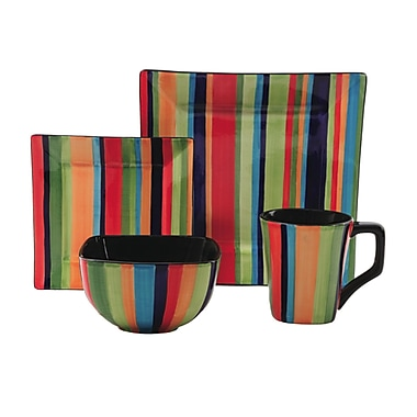 Gibson® Elite Florid Stripes Dinnerware Set, 16 Piece, Multi