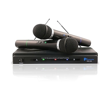 Technical Pro WM201 Dual Signal VHF High Band Microphone System, Black