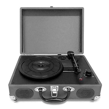 Pyleaudio® PVTT2U Retro Belt-Drive Turntable W/USB-to-PC Connection, Rechargeable Battery, Gray