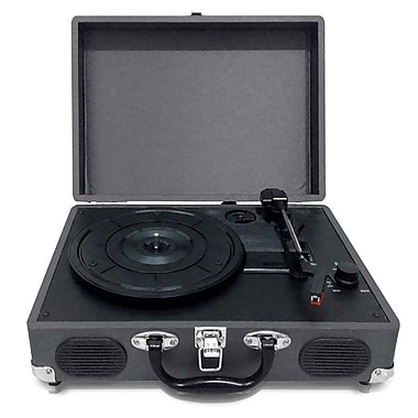 Pyleaudio® PVTT2U Retro Belt-Drive Turntable W/USB-to-PC Connection, Rechargeable Battery, Black
