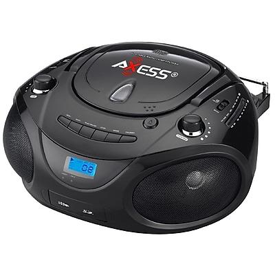 Axess® PB2703 Portable Boombox MP3/CD Player W/Text Display/AM/FM/Controls Even Dark, Black