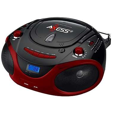 Axess® PB2703 Portable Boombox MP3/CD Player W/Text Display/AM/FM/Controls Even Dark, Black/Red