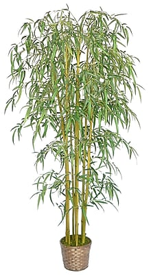 "Laura Ashley 96"" Realistic Silk Bamboo Tree in Wicker Basket Planter"