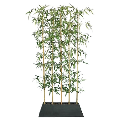 Laura Ashley® 8' Silk Bamboo Tree Screen with Contemporary Wood Planter