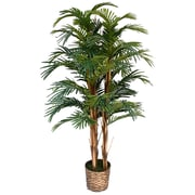 "Laura Ashley 60"" High End Realistic Silk Palm Tree in Wicker Basket Planter"