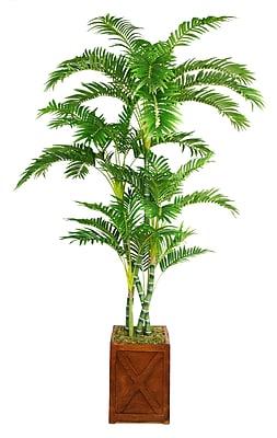 "Laura Ashley 81"" Palm Tree in 13"" Fiberstone Planter"