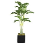 "Laura Ashley 74"" Palm Tree in 14"" Fiberstone Planter, Black/Gray"