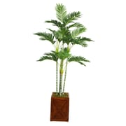 "Laura Ashley 77"" Palm Tree in 13"" Fiberstone Planter"