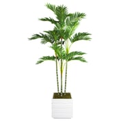 "Laura Ashley 74"" Palm Trees in 14"" Fiberstone Planter"