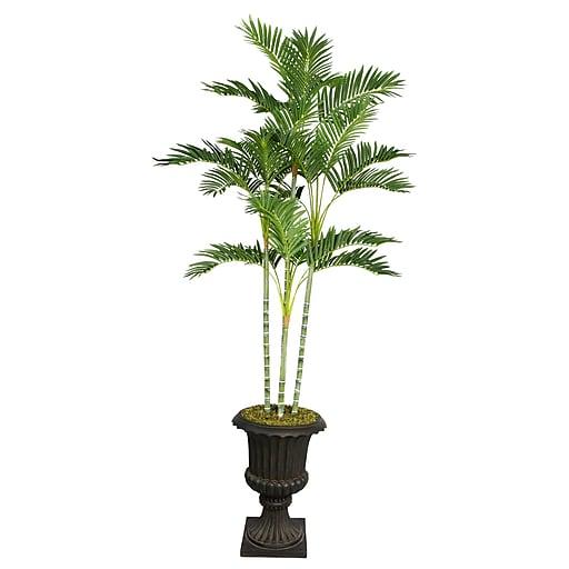 "Laura Ashley 82"" Palm Tree in 16"" Fiberstone Planter, Black/Gray"