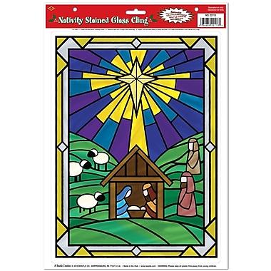 Autocollants « Scène de la Nativité en vitrail », 12 x 17 po, paquet de 6