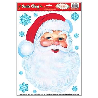Autocollants « Visage du père Noël », 12 x 17 po, paquet de 6