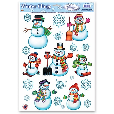Autocollants « Bonhomme de neige/Flocons de neige », 12 x 17 po, 96/boîte