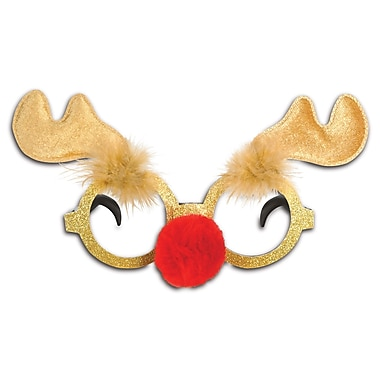Glittered Reindeer Glasses, 2/Pack