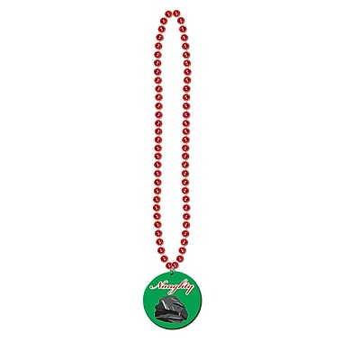 Beads with Printed Naughty Or Nice Medal, 36