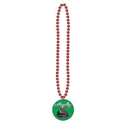 Beistle Beads Necklace With Naughty Or Nice Medal, 36