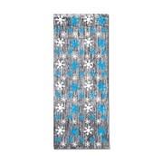 Beistle 8' x 3' Snowflake 1-Ply Glm N Curtain, Silver/Blue/White