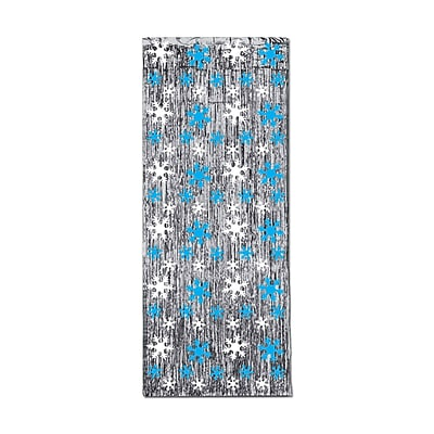 Beistle 8' x 3' Snowflake 1-Ply Glm N Curtain, Silver/Blue/White