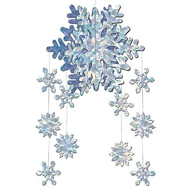 Mobile décoratif avec flocons de neige 3D, 22 po, paquet de 4